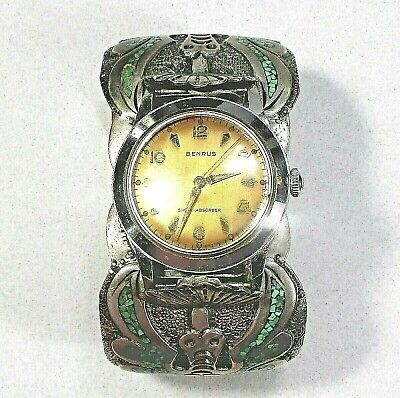 BENRUS man's watch wide sterling silver band turquoise & coral stones ᵇ j5