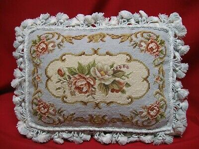 Beautiful  Antique Aubusson Needlepoint  / Petit Point Pillow