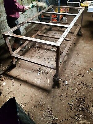 Early Antique Victorian Vintage Industrial steel Workshop Warehouse Bench Table