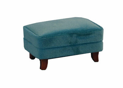 1/12 Scale Dolls House Emporium Teal Modern Velvet Footstool Sofa Stool 9314
