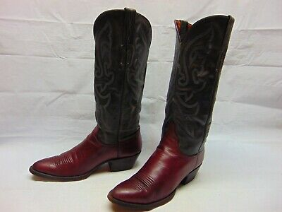 2269a63d9ea LUCCHESE SINCE 1883 Womens 6 B Black Cherry Leather ROPERS Western ...