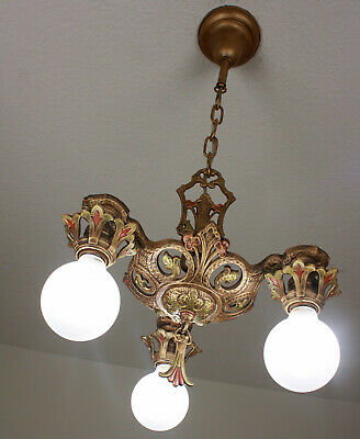 RARE 20's ART DECO Antique Vintage Ceiling Light Fixture  CHANDELIER