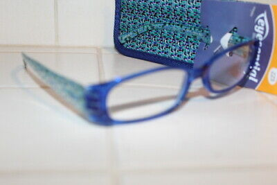 Foster Grant Iliana Readers Reading Glasses +2.00 W/Case Trendy Blue Womens New