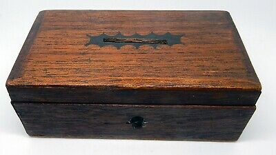 Antique English Walnut Handmade Money Box with Lock NO KEY