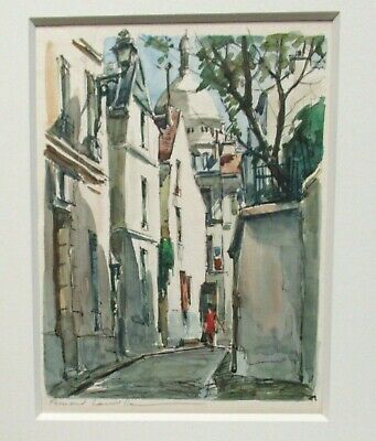 Fernand Lauville Romean Street Scene Original Watercolor Landscape Painting