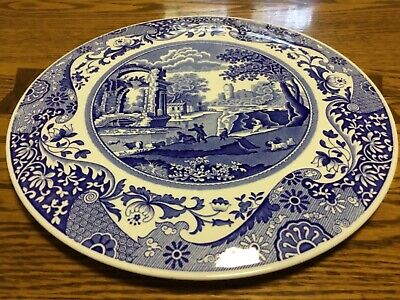 "SPODE  ""BLUE ITALIAN "" dome footed 11 1/2"" cake plate - MADE IN ENGLAND"