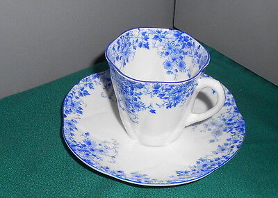 Shelley Fine Bone China DAINTY BLUE Demitasse  Cup & Saucer Set England