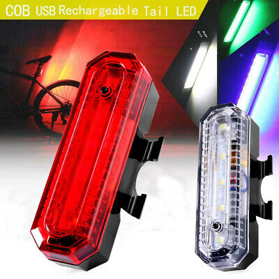 COB LED Bicycle Bike Cycling Safety Rear Tail Light Lamp USB Rechargeable 4 Mode