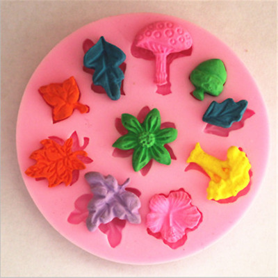 Silicone Cake Mold Fondant Mushroom Leaf Shaped Candy Chocolate Moulds Gadget BS