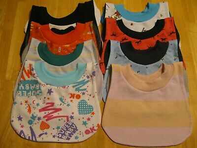 """8 Toddler Bibs 14-15"""" neck Pull Over Head T-Shirt special needs drool"""