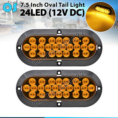 "2 X Amber 24 LED 6"" Oval Signal Indicator Tail Light Tow Truck RV 12V Waterproof"