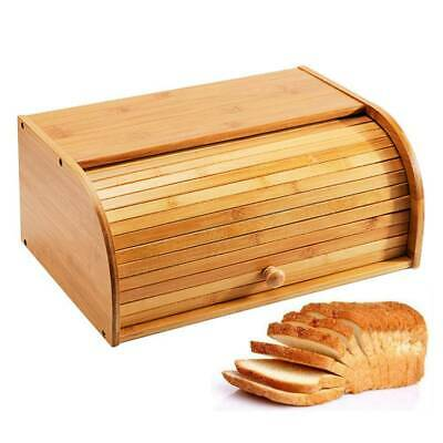 Roll Top Bamboo Bread Box Wooden Kitchen Food Storage Container