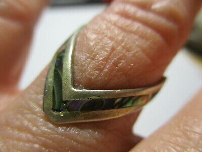 Sterling Silver 925 Estate Vintage Taxco Abalone Inlay V Shaped Ring Size 7.5