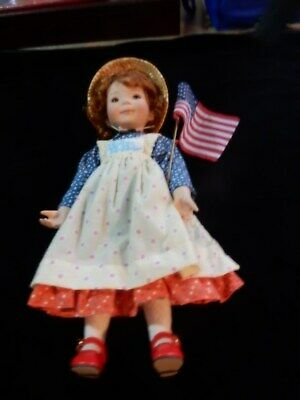 Vintage Large Holly Hobbie Porcelain Girl  With Flag