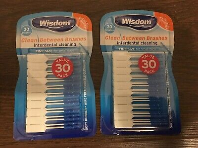 2 x 30 Wisdom FINE BLUE Clean Between Interdental Brushes ~ (2 Packs Total 60)