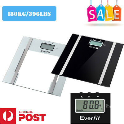 Everfit Electronic Digital Body Fat Hydration Bathroom Glass Weight Scale 180KGS
