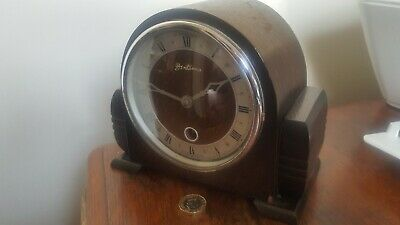 Art Deco Small Oak Clock Circa 1930 By Daval