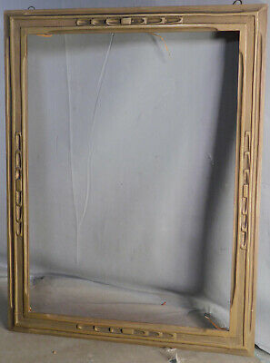 Newcomb Macklin Style Carved Gilt Wood Arts Crafts Picture Frame Mortised Corner