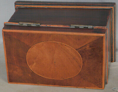 Antique Oval Inlaid Georgian Mahogany Box Caddy 1790 18th century Casket Secret