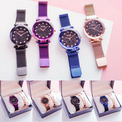Hot Starry Sky Watch Waterproof Magnet Strap Buckle Stainless Steel Women Gift