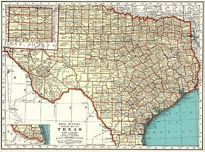 1937 Antique TEXAS State Map Vintage Map of Texas  Gallery Wall Art 6641