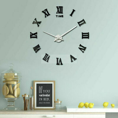 DIY 3D Large Number Mirror Wall Clock Sticker for Home Office  Decor Kids ROOM