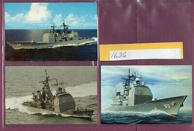 1987-2000 Guided Missile Cruiser CG-55 USS Leyte Gulf Lot x 3 Postcards