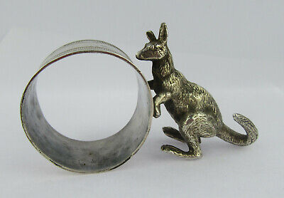 Early 20th C Novelty Silver Plated Kangaroo Napkin Ring Manner Of Stewart Dawson