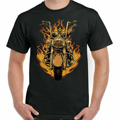 Mens Biker Flames T-Shirt Skull Skeleton Motorbike Motorcycle Bike Chopper Top