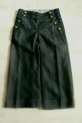 Next Girls Wide Leg Denim Trousers With Military Buttoned Detail Size 4 Years