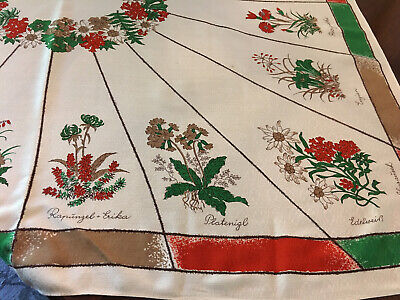 "Vintage 1940/50's Herb Plants Tan & Multi Color Tablecloth MCM 50"" x 48"" VG!"