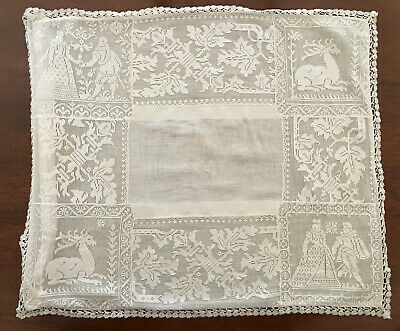 Antique Valenciennes Lace Courting Couple & Deer Crochet Edging Pillow Cover