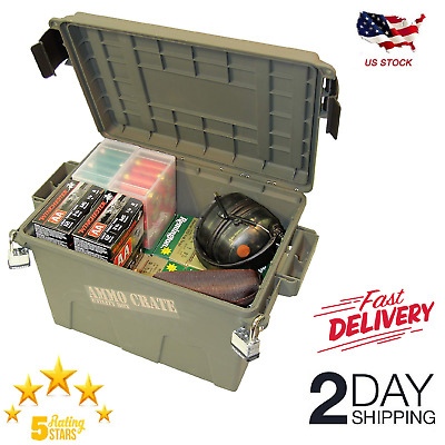 Military Ammo Crate Stackable Utility Box Heavy Duty Caliber Bulk Storage Can