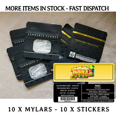 Jungle Boys Mylar Bags & 3.5 G MAC Stickers X 10 Pack