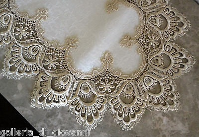 "Delicate Gold Trim Lace 63"" x12""  Dresser Scarf Shelf Runner Mantel  Doily"