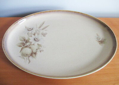 "Denby Memories Oval Platter 12.5"" Brown Tan Flowers 1980s England Stoneware"