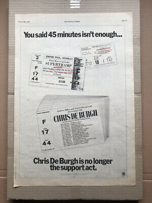 CHRIS DE BURGH 1978 UK TOUR POSTER SIZED original music press advert from 1978 w