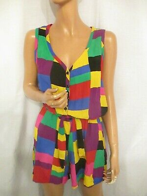 Vintage St Michael 80s Multi Colour Square Elmer Playsuit UK10 All in one Shorts