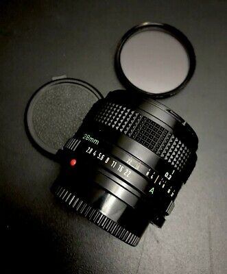 Canon Lens FD 28mm 1:2.8 2.8/28 VTG Wide Angle Prime Lens Filter And Caps EXC++