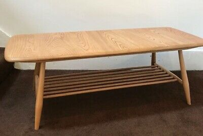 Vintage Retro Mid Century Blonde Ercol Windsor Coffee Table With Magazine Rack