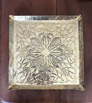 Arts and Crafts Brass Square Tray C1890