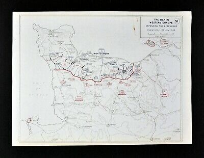 West Point WWII Map Normandy France Allied Invasion Battle of Caen Montgomery