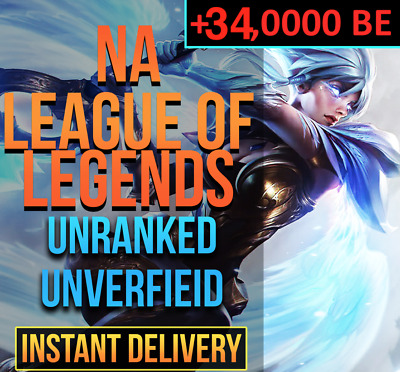 NA 24K BE League Of Legends Account LOL NA Smurf 24,000 BE IP Unranked Level 30+