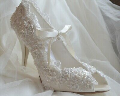Regency Victorian high mid low heel bridal shoes with lace pearls ribbon tie