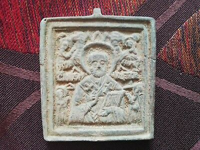 7th century Byzantine bronze icon Jesus Christ and saints