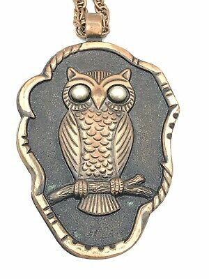 Vintage Native American Bell Trading Post Solid Copper Owl Pendant Necklace