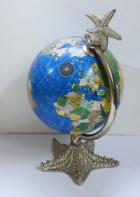 Charming Desktop Globe with Unusual Metal Starfish Design Base and Top.