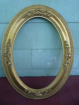Antique Ornate Art Nouveau Gold Gilded gesso Wood OVAL Picture Frame fits 14x20