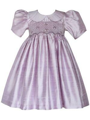 Flower Girls Lavender Silk Hand Smocked Dress Formal Gown Heirloom Vintage 18170