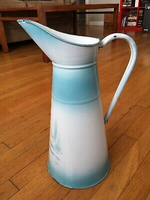 Vintage French Enamel Pitcher Water Jug White Blue Antique Art Deco 1920